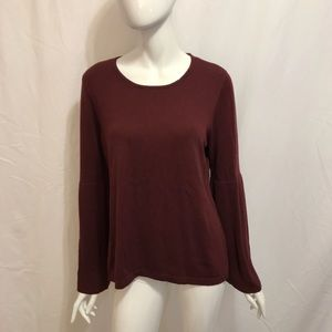 Vince Camuto Burgundy Bell Sleeve Sweater Top